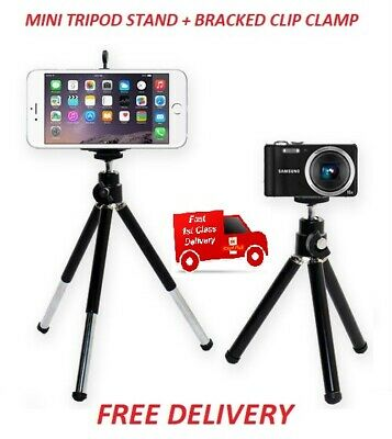 Mini Tripod Stand For Digital Cameras + Bracket Clip Clam Mobile Phone  - Black