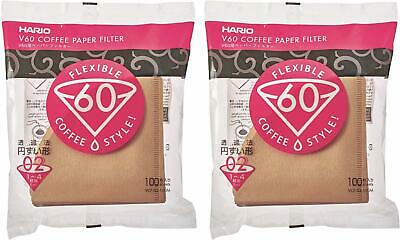 Hario V60 Disposable Paper Coffee Filter, Tabbed, Natural, 200sheets VCF-02-100M