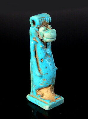 Large Egyptian Faience Blue Glazed Amulet Of Taurt (M595)