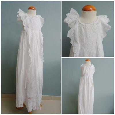 Antique Christening Dress Gown Petticoat Victorian Baptism Babys Embroidered