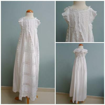 Antique Christening Dress Gown Baptism Victorian Babys Embroidered Whitework