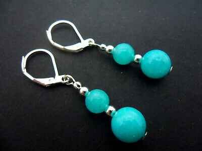 A Pair Of Dangly Blue Jade  Bead  Leverback Hook Earrings . New.