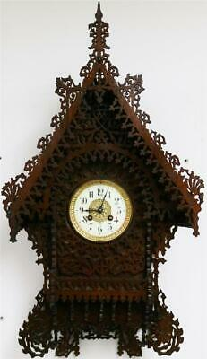 Majestic Elaborate Antique Carved Pierced Fretwork 8Day Bell Striking Wall Clock