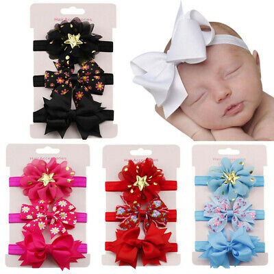 3PC Newborn Elastic Floral Star Cute Headband Hair Girl Baby Bow Hairband Set US