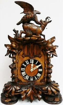 Spectacular Antique Carved Walnut 3 Train 4 Musical Tunes Automaton Cuckoo Clock