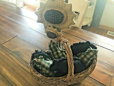 New Plaid Ornies Bowl Fillers PrImITive Cabin Bears Black Green Trees Farmhouse