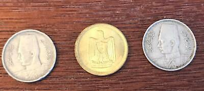 Egyptian coins 2 King Farouk 2 Millims since 1938 and one eagle since 1962