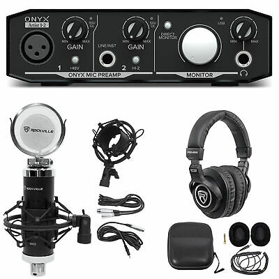 Mackie Onyx Artist 1.2 2x2 USB Recording Interface+Studio Microphone+Headphones