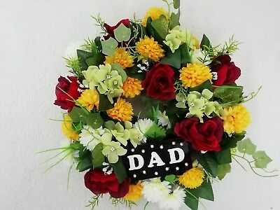 """Artificial Grave Flower Wreath 14"""" - Yellow & Red - DAD"""