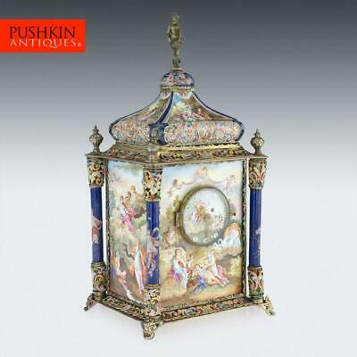 ANTIQUE 19thC AUSTRIAN SILVER-GILT & ENAMEL MANTEL CLOCK, RUDOLF LINKE c.1890
