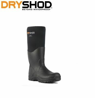 """Dryshod BIG BOBBY Mid 12/"""" Men/'s RUGGED WORK BOOT MUCK STYLE BBB-MM-BK Wide Fit"""