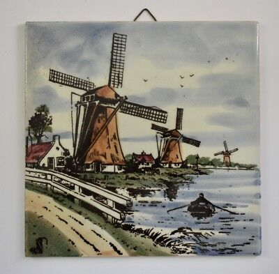 DP Delft Tile Windmill Holland Wall Hanging 6 x 6 Inch Vintage Ceramic