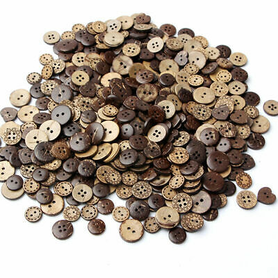 50 pcs/pack 18mm Brown Coconut Shell 2 Holes Buttons fit Sewing Scrapbookin B9A6