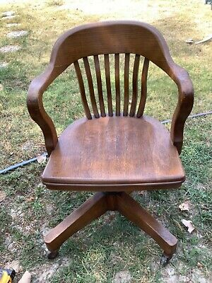 Antique Swivel adjustable Oak WOOD OFFICE desk CHAIR banker lawyer typewriter