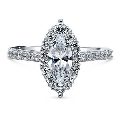BERRICLE Sterling Silver Marquise Cut CZ Halo Promise Engagement Ring 1.44 CTW