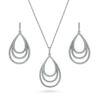 BERRICLE Sterling Silver CZ Teardrop Bridal Bridesmaid Necklace and Earrings Set