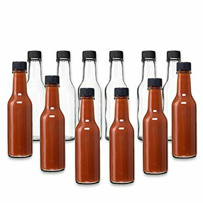 Hot Sauce Woozy Bottles, 5 Oz with Black Caps and Inserts - 12 Pack