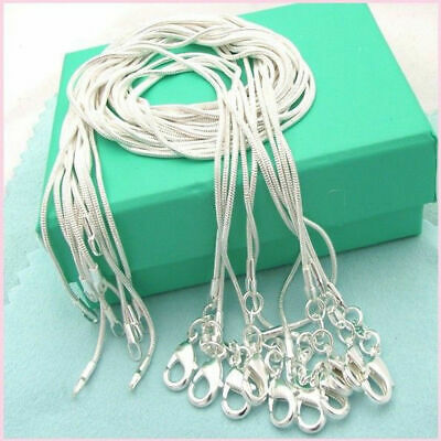 10PCS 16-28 inches 925 Sterling Solid Silver Snake Chain Necklace Wholesale Set
