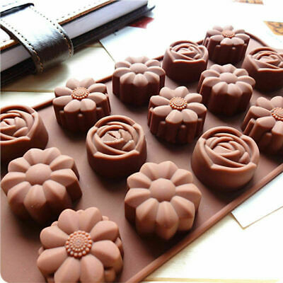15 Cavity Silicone Rose Flower Chocolate Cake Soap Baking-Ice Mould Mold Tr U7E5