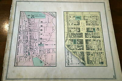 1872 Rare Hopkins Lawrence County Atlas City Map Of New Castle-Handcolored