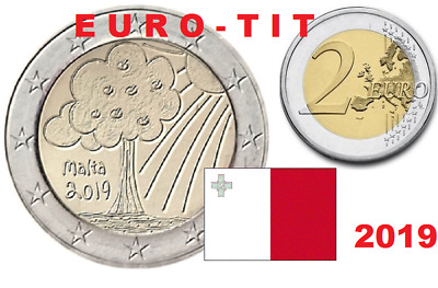 2 €  MALTE COMMEMO  RARE  300 000  ex  / 2019  NATURE   LOT DE 2 PIECES  NOUVEAU