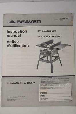 "New Beaver Delta 10"" Motorized Saw Table Saw Instruction Manual French + English"