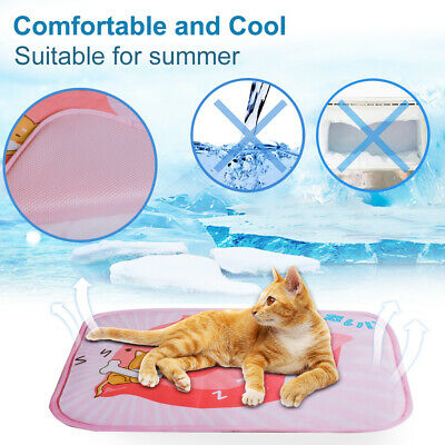 UK Pet Cooling Mat Pad Cat Puppy Cool Gel Self Bed Non Toxic Large Heat Relief