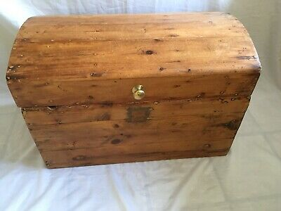 Attractive Antique Pine Domed Top Chest, Trunk, Blanket Box