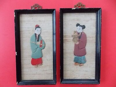 Antique Asian Couple Framed Silk Hand Painted Portraits on white grass cloth