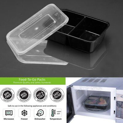 10pcs Meal Prep Containers Plastic Food Storage Microwavable Reusable Lunch  UK