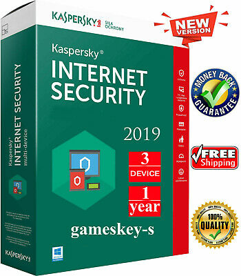 KASPERSKY INTERNET SECURITY 2019 3 PC | 1 YEAR | for Windows READ DESCRIPTION!!!