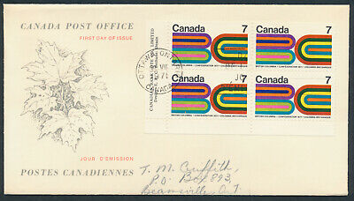 1971 #552 BC Centennial FDC, LL Plate Block, CPO Replacement Cachet with Insert