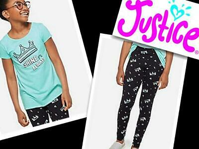 PATTERN LEGGINGS NWT JUSTICE GIRLS 8 10 12 OUTFIT~BLACK LONG SLEEVE TEE