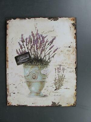 Metal Sign,Advertisement Sign, Lavender, Flowers Wall Sign 9 13/16x7 7/8in