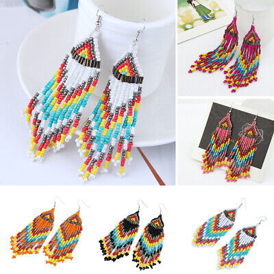 Ethnic Beads Tassel Women Dangle Boho Earrings Drop Statement Long Jewelry Gift