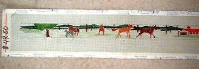 MZC Horse Farm Fence Barns Belt 18ct Mono HP Hand Painted Needlepoint Canvas