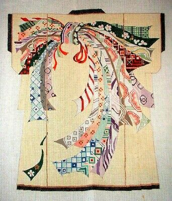 MZC Oriental Ribbons Kimono by Princely HP Hand Painted Needlepoint Canvas