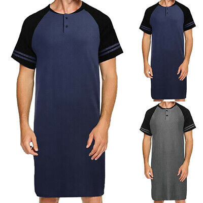 Mens Short Sleeve Pajama Nightwear Comfy Sleepwear Casual Nightshirt Long Tops