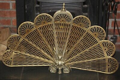 Vintage Victorian Brass Phoenix / Peacock Firescreen Fire Guard Screen Folding