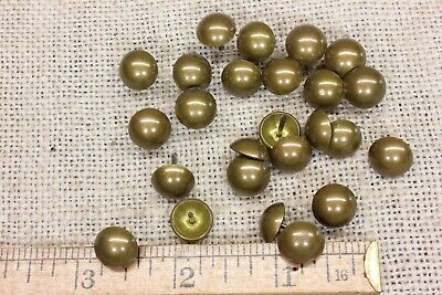 """25 old BRASS TACKS 7/16"""" Diameter upholstery nailsdomed round heads vintage"""