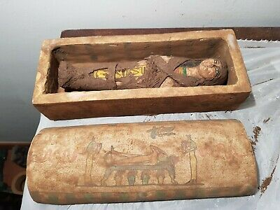 Rare Antique Ancient Egyptian Wood Ushabti Box Servant God Isis Djosr2687-2668BC