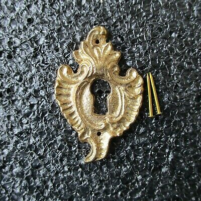 """French Style Solid Brass Escutcheon Keyhole Covers + Nails 1 1/4"""" X 2"""""""