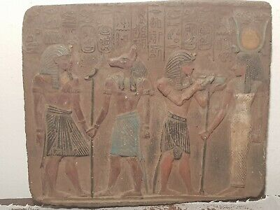 Rare Antique Ancient Egyptian Stela King Amenhotep Gods Anubis Isis 1427–1401BC