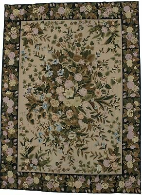 Aubusson Needlepoint Hand-Hooked 9X12 Chinese Oriental Rug Home Décor Carpet