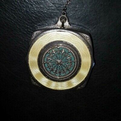 Vintage Yellow/Greenish-Blue and Silver Tone Mirror Ring Finger Compact