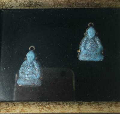 Antique Carved Blue Turquoise Color Stone Earring Drops Shadow Box Framed