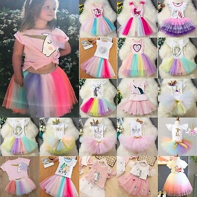 Kids Girls Cartoon Princess Dress Rainbow Ballet Party T-Shirt Tutu Tulle Skirt