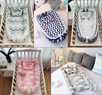 UK Newborn Baby Bed Sleep Pod Nest mat Reversible Cocoon Newborn Cushion Gift