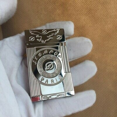 S.T Lighter Classic Flame Memorial Bright Ping Sound Silver Metal cigarette