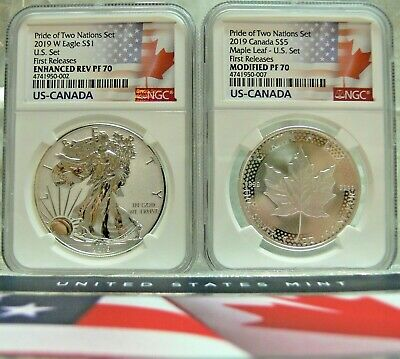 2019 Pride Of Two Nation 2 Coins Set Ngs Revers Pf70 First Releases Usa-Canada